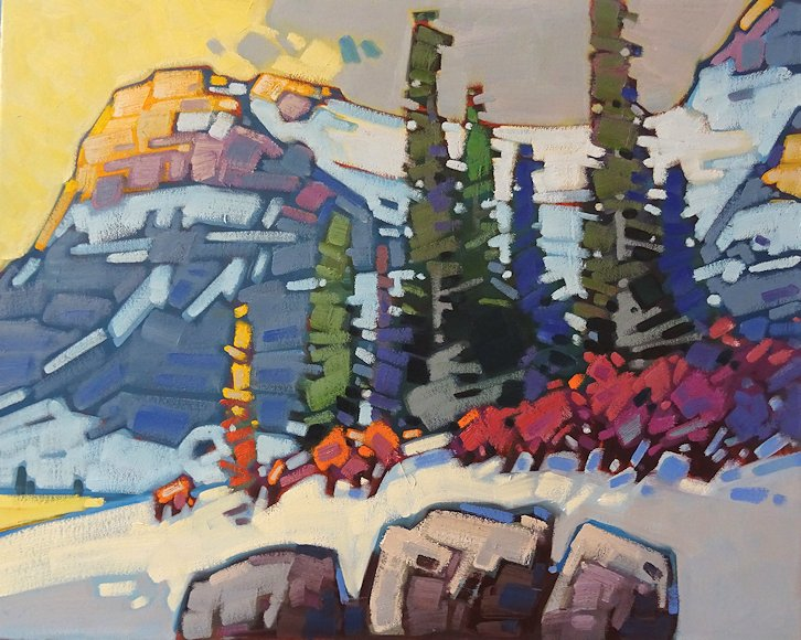 "Image of art work ""Winter Warmth at Bow Lake"""