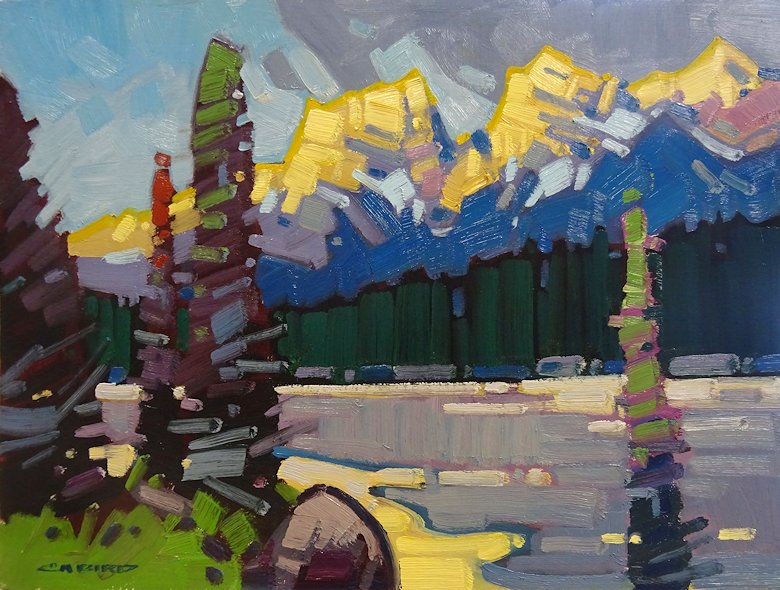 "Image of art work ""Distant Glow on the Three Sisters"""