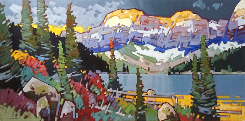 "Image of art work ""Sundown at Cameron Lake Waterton"""