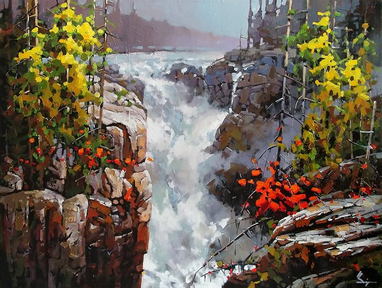 "Image of art work ""Athabasca Fall in Jasper"""