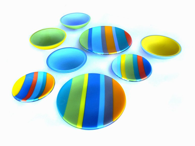 "Image of art work ""Color Bars Small Bowls & Plates (vf004a-h)"""