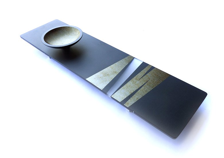 "Image of art work ""Iridescent Black Platter & Bowl (vf007)"""