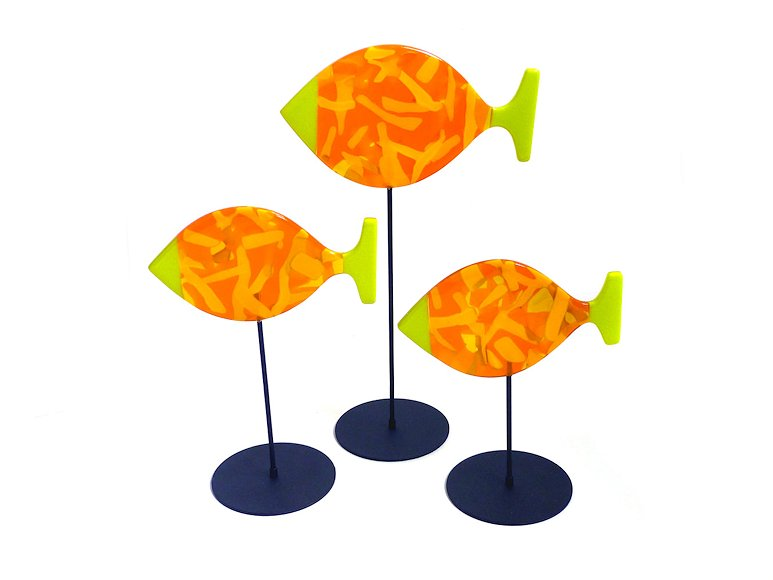 "Image of art work ""3 Fish & Stands, Orange, Yellow & Green (vf040)"""