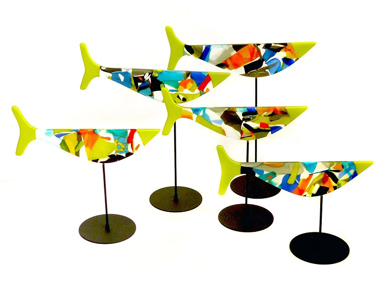 "Image of art work ""5 Multi-coloured Fish & Stands, Green Tails (vf042)"""