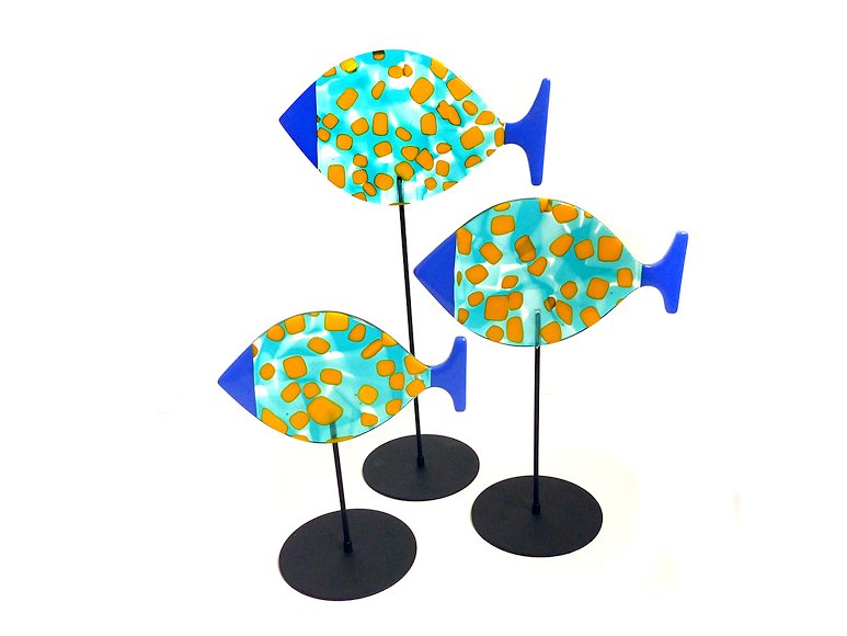 "Image of art work ""3 Fish & Stands, Turq, Yellow & Blue (vf041)"""