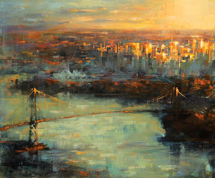 "Image of art work ""Downtown at Dusk"""