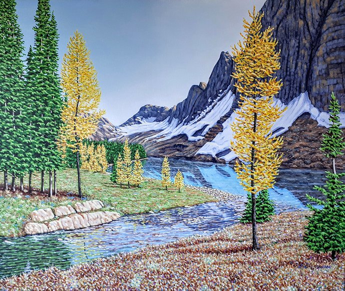 "Image of art work ""Autumn Arrives at Floe Lake"""