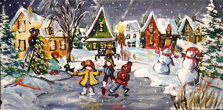 "Image of art work ""Christmas Holiday Skaters"""